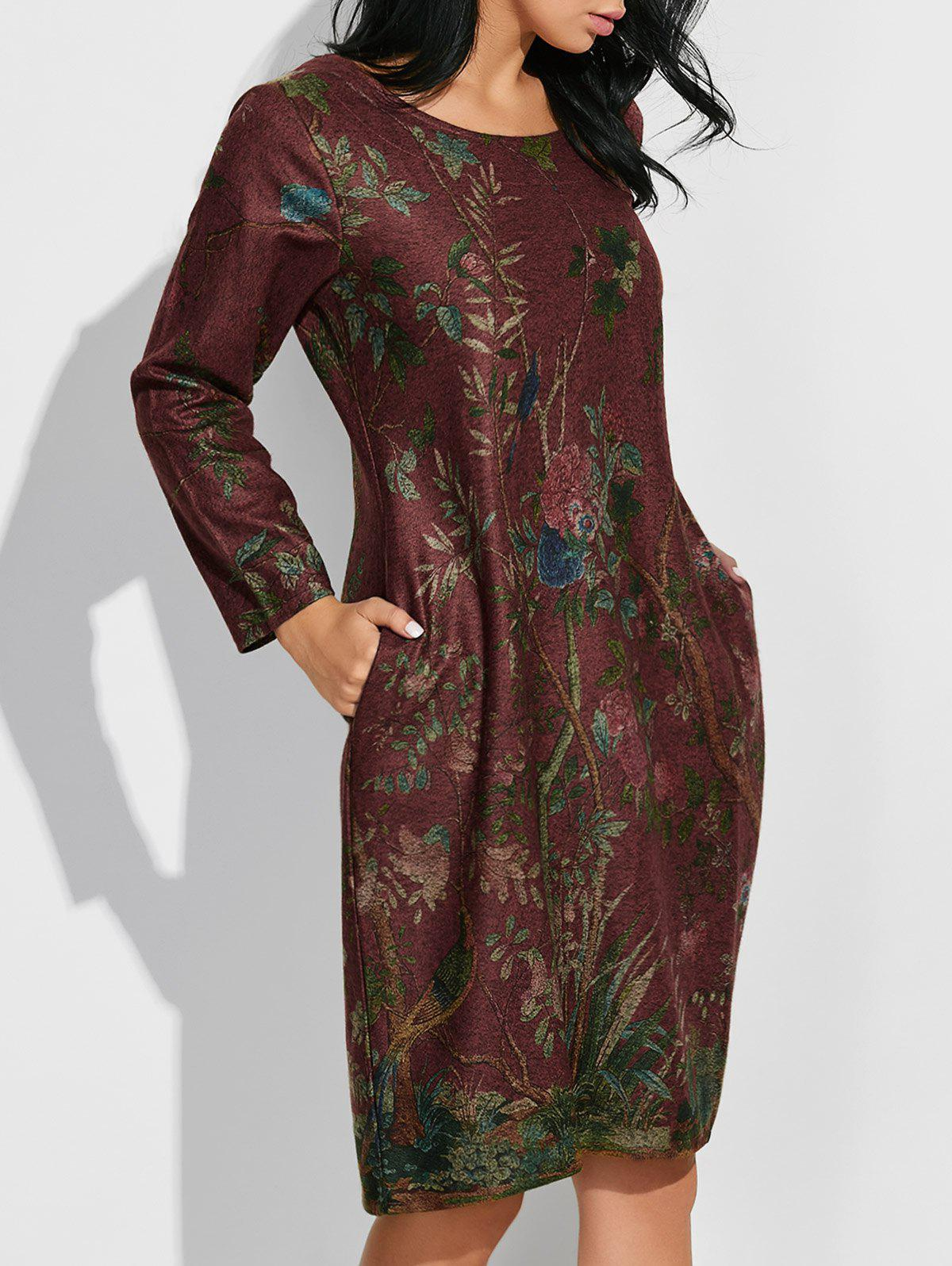 Floral Vintage Loose Dress - DARK RED XL
