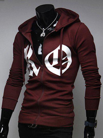 Zip Up Front Graphic Hoodie Drawstring Pocket - Rouge vineux L