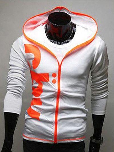 Contraste Zip Slim Fit Graphic Hoodie - Blanc XL