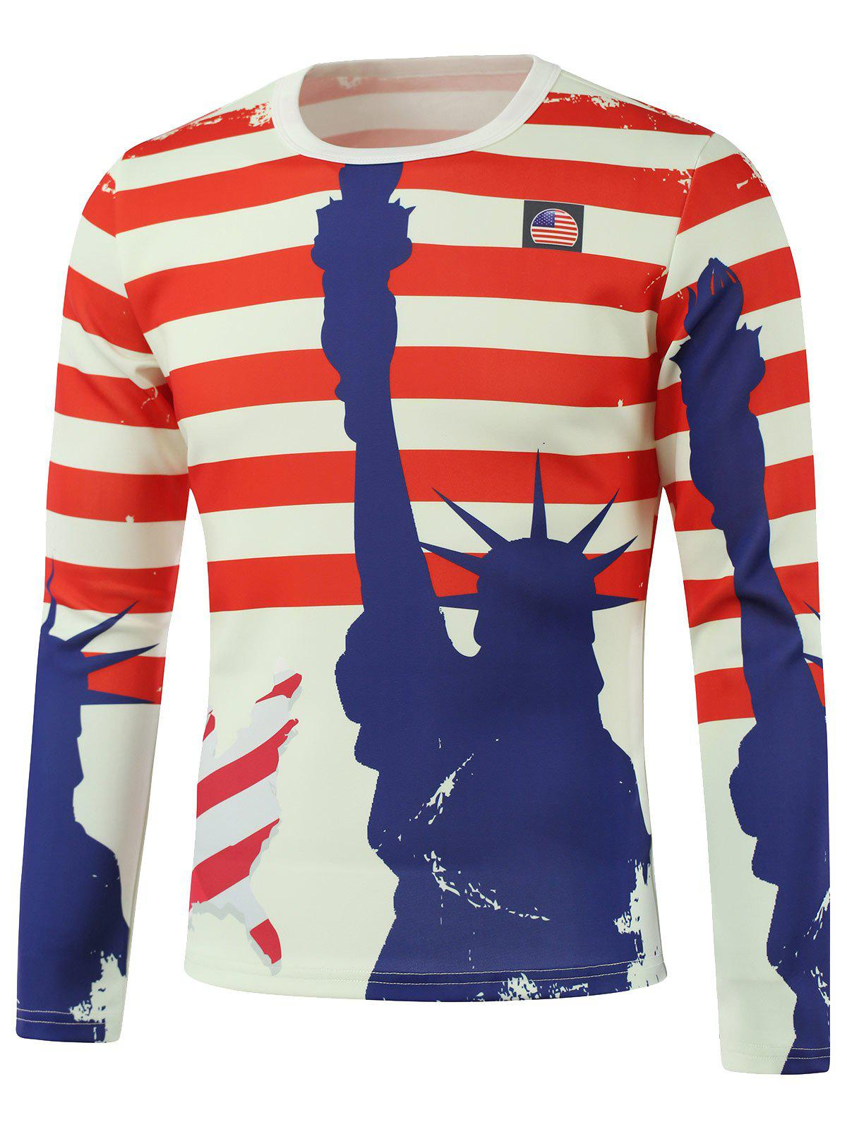 Freedom American Flag Printed Long Sleeve SweatshirtMen<br><br><br>Size: XL<br>Color: WHITE