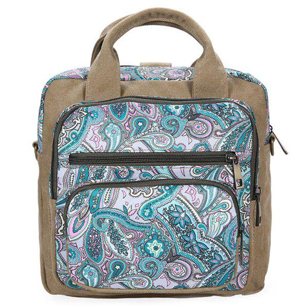 Casual Canvas Ethnic Print BackpackBags<br><br><br>Color: GREEN