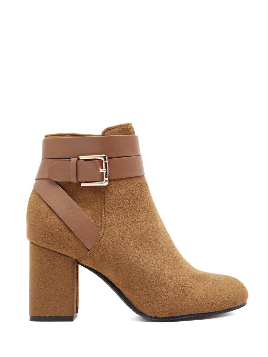 Chunky Heel Cross Straps Buckle Ankle Boots - BROWN 38