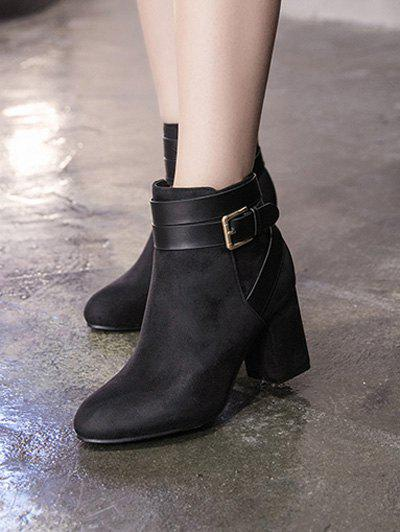 Chunky Heel Cross Straps Buckle Ankle Boots - BLACK 38