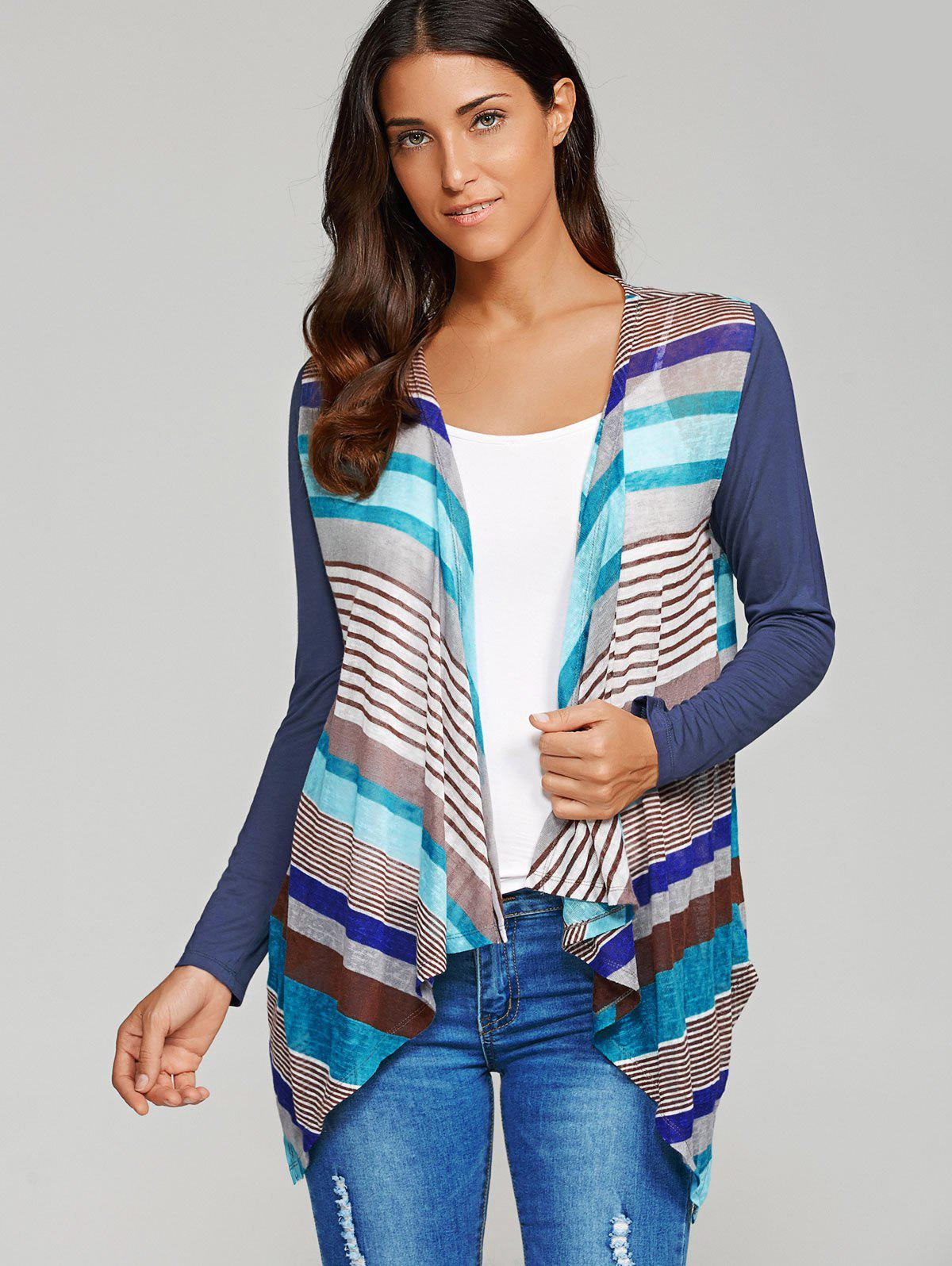Striped Asymmetrical Sheer Cardigan, STRIPE, XL in Sweaters ...