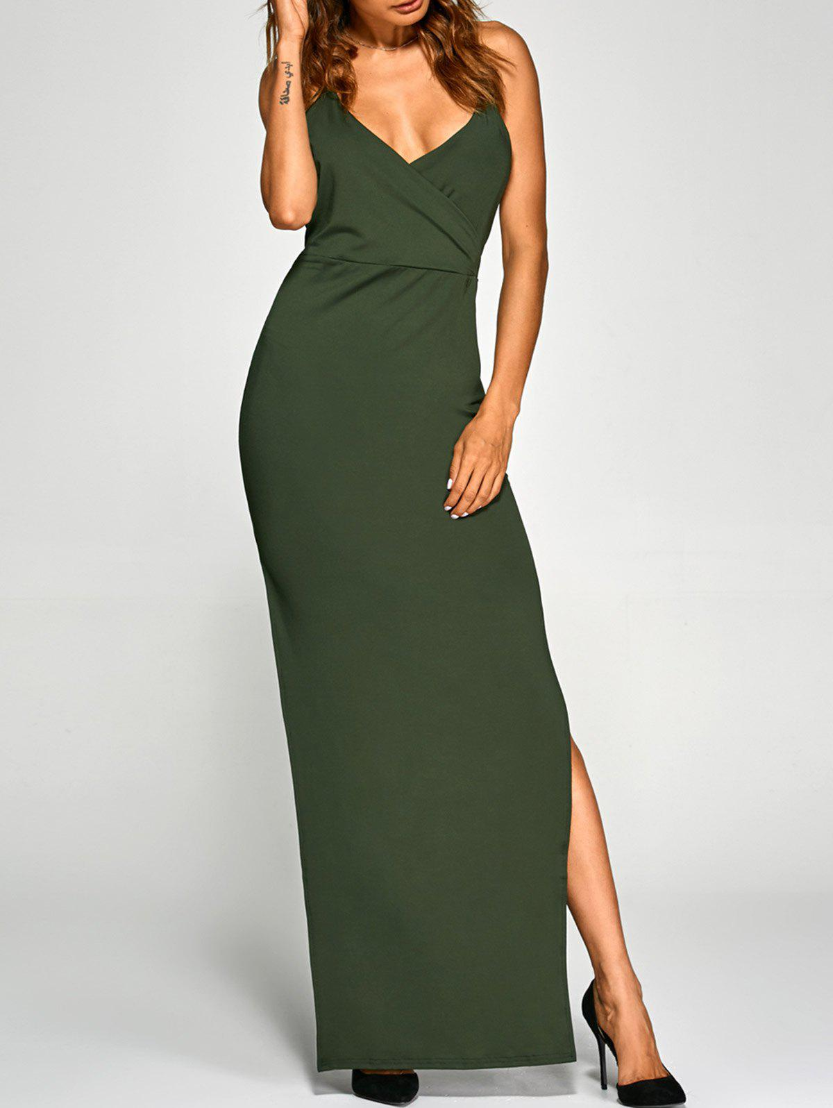 low cut cross back slit party dress army green m in maxi