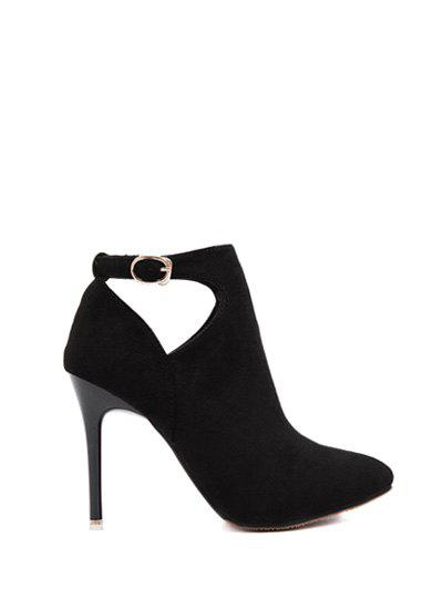 Flock Stiletto Heel Hollow Out Ankle Boots - BLACK 37