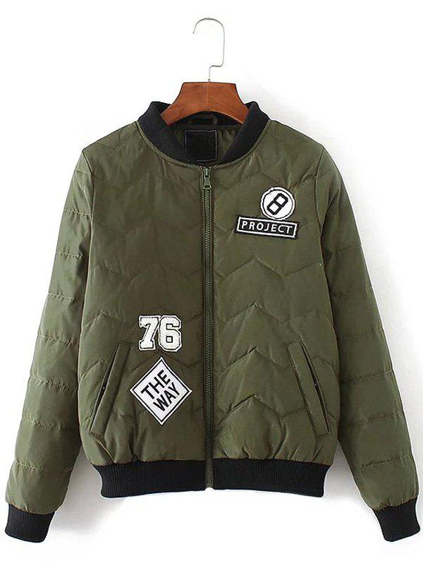 Patched Bomber Jacket - ARMY GREEN S