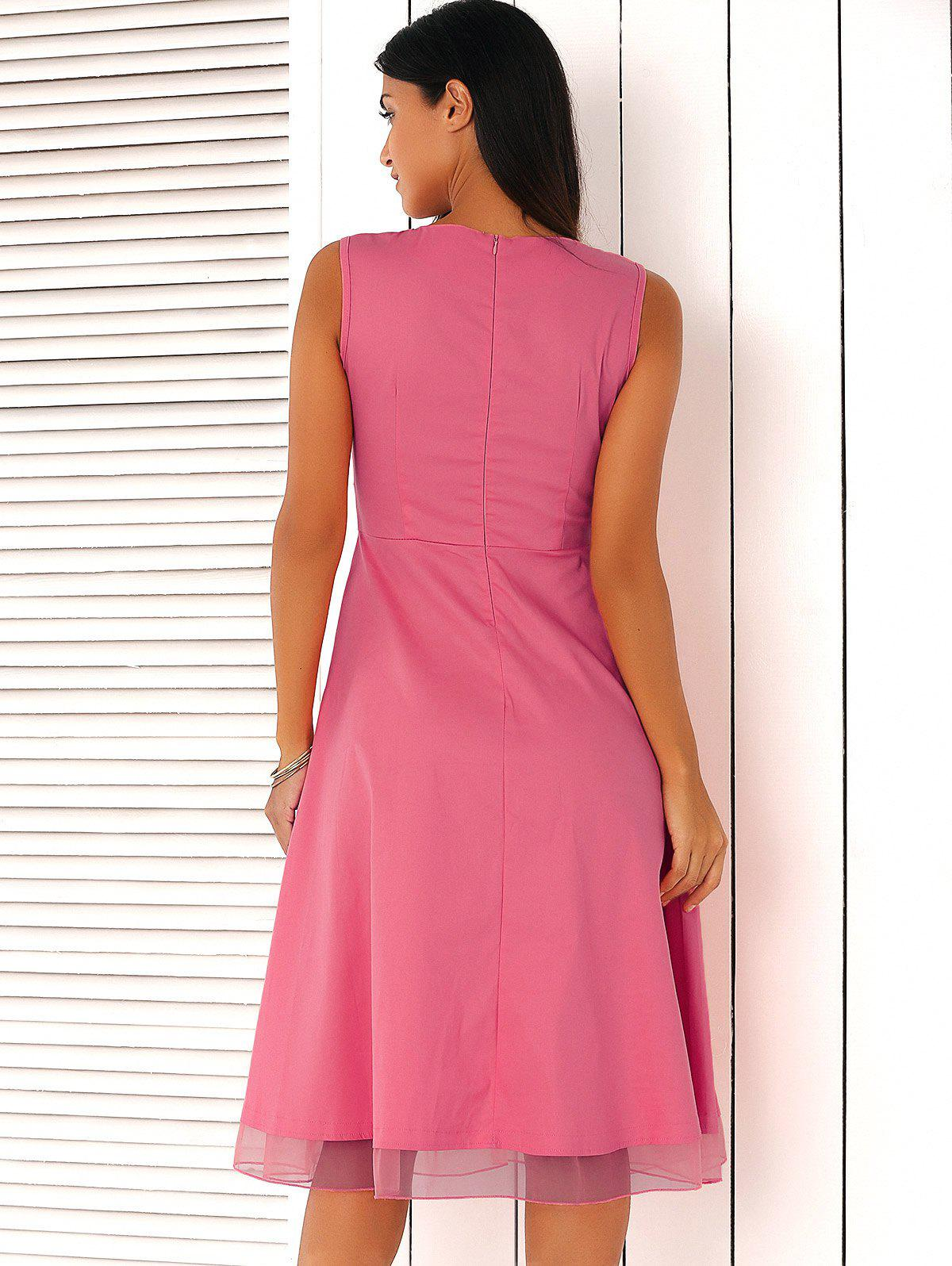 Ladylike Pure Color Mesh Spliced Dress - PINK 2XL
