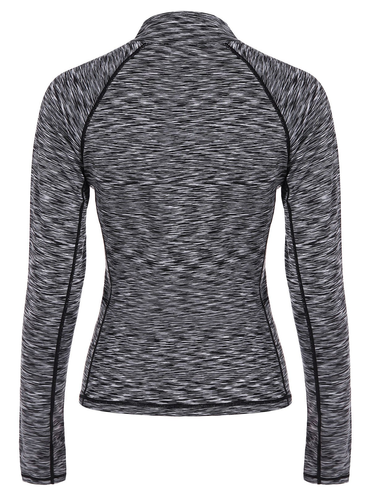 Half-zip Heathered Topstitched Long Sleeve Gym Top - GRAY M