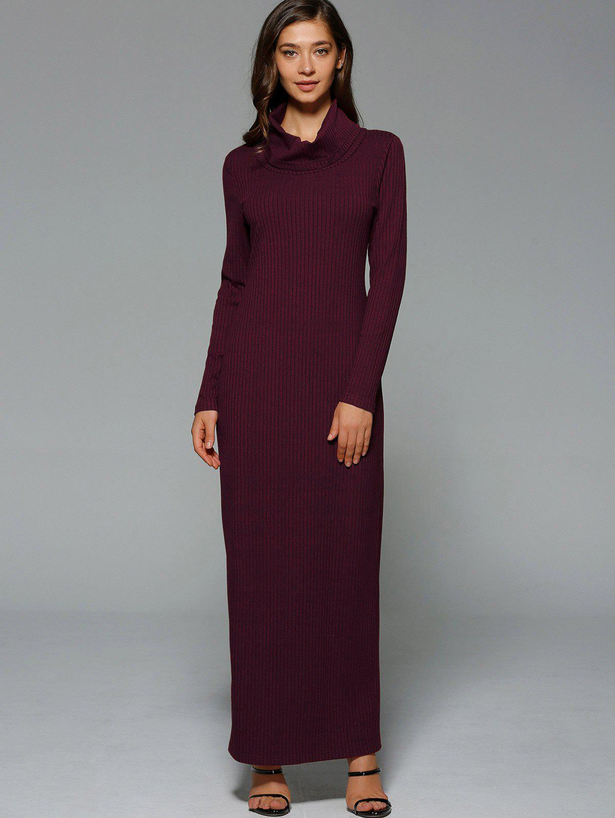 Maxi Slit Ribbed Long Sleeve Winter Dress - WINE RED 2XL