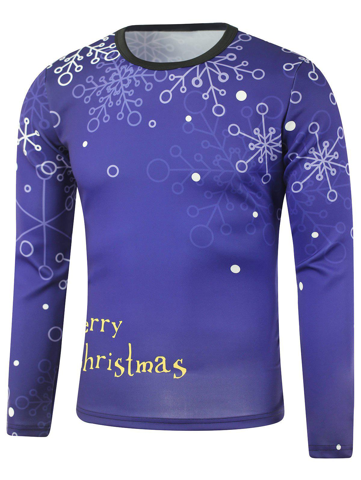 Snowflake Merry Christmas Printed Long Sleeve Sweatshirt - DEEP BLUE M