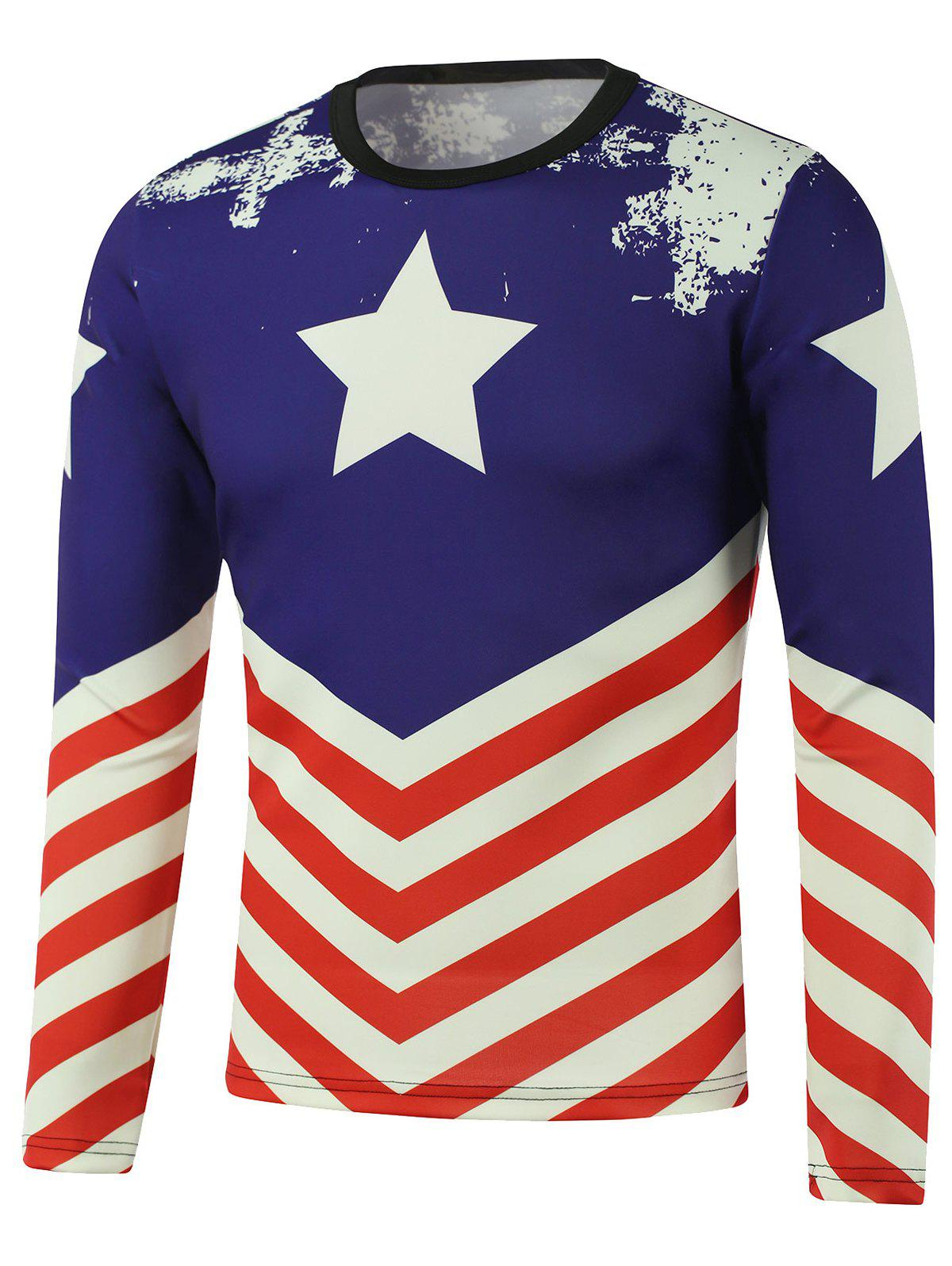 Pentagram American Flag Printed Long Sleeve Sweatshirt тетрадь в линию magic lines французский завтрак а4 80 листов