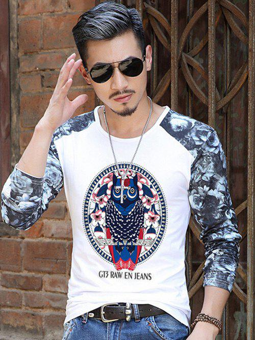 Owl Pattern Floral Printed Sleeve T-Shirt - WHITE L