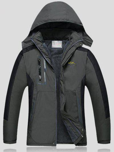 Détachables Veste Capuche Color Block Ski - Gris 2XL