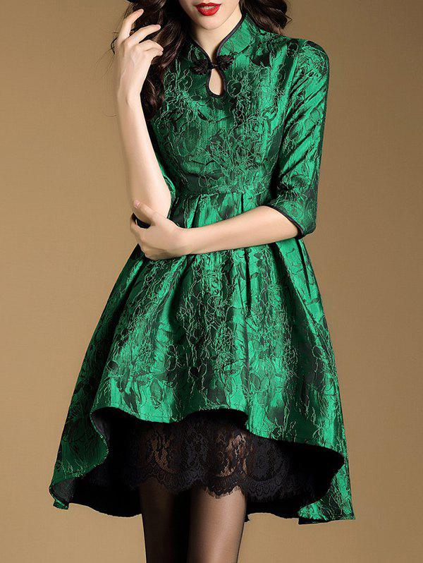 Keyhole Embroidered Qipao DressWomen<br><br><br>Size: M<br>Color: GREEN