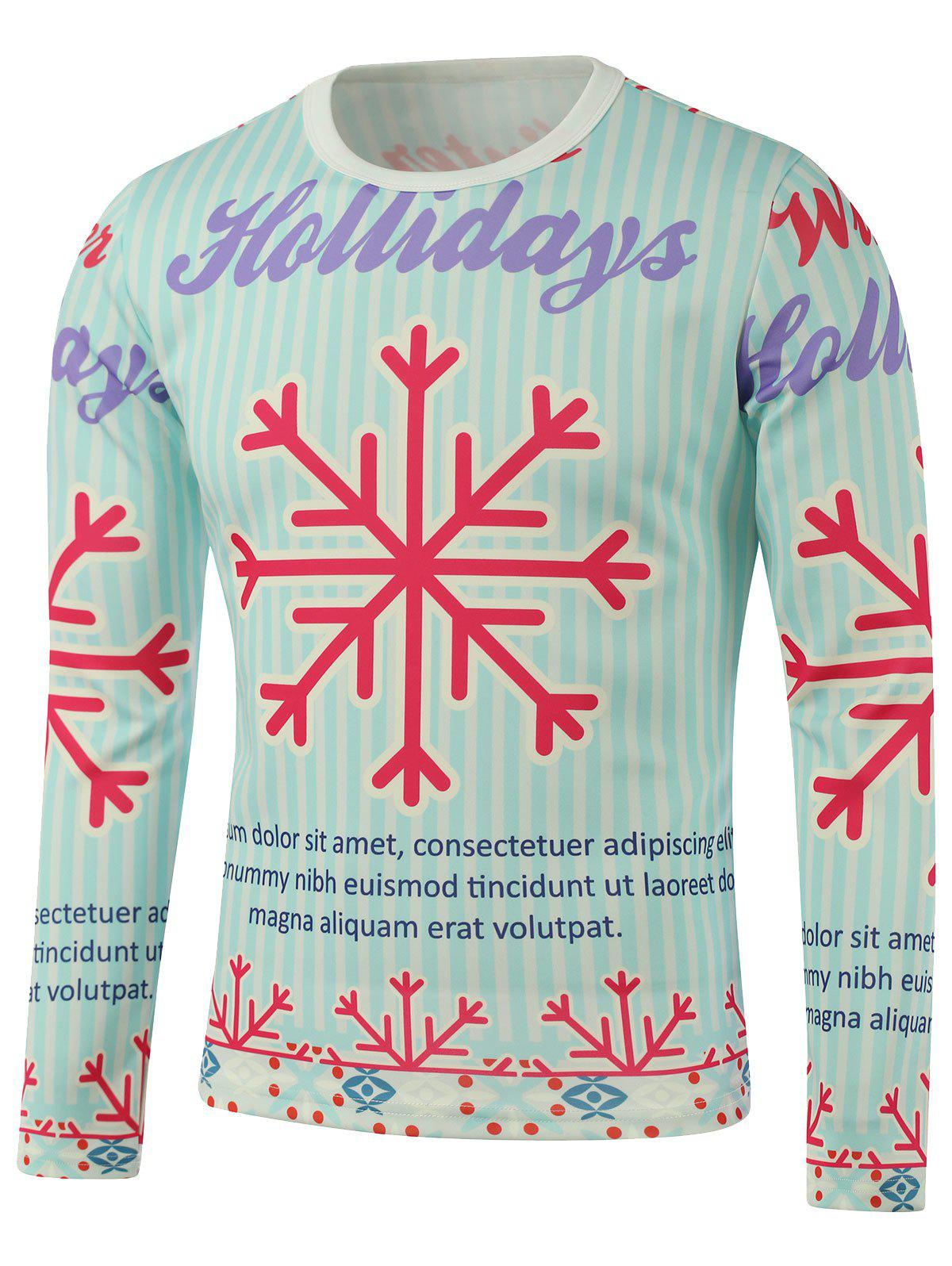 Crew Neck Snowflake Printed Long Sleeve Sweatshirt - COLORMIX 3XL