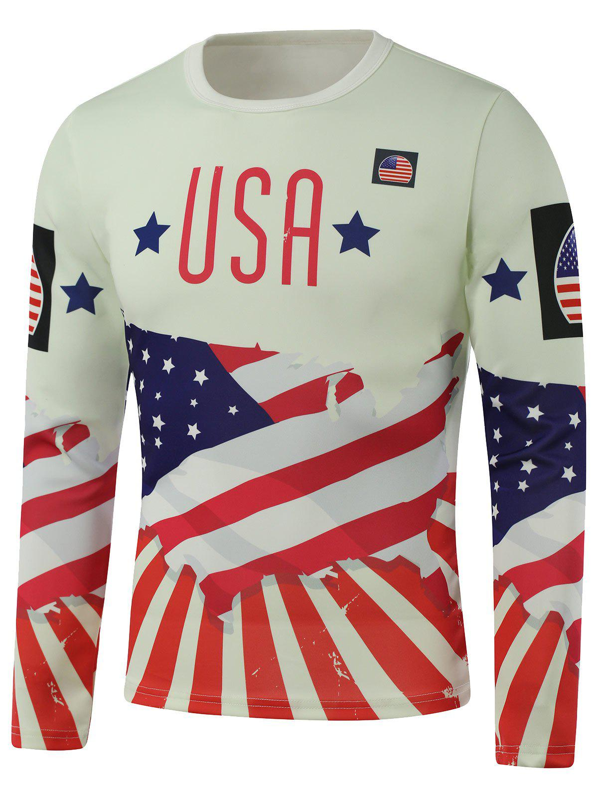 Crew Neck USA Flag Star Printed Long Sleeve Sweatshirt цена 2017