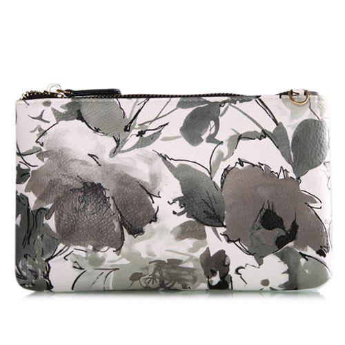 Colored Floral Print Chains Pouch Bag - BLACK