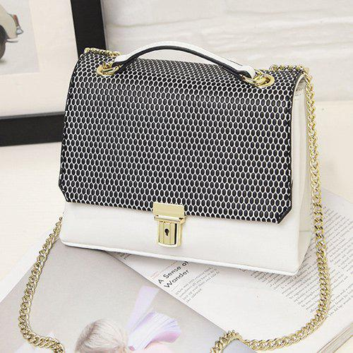 Square Shape Dots Chain Crossbody Bag - WHITE