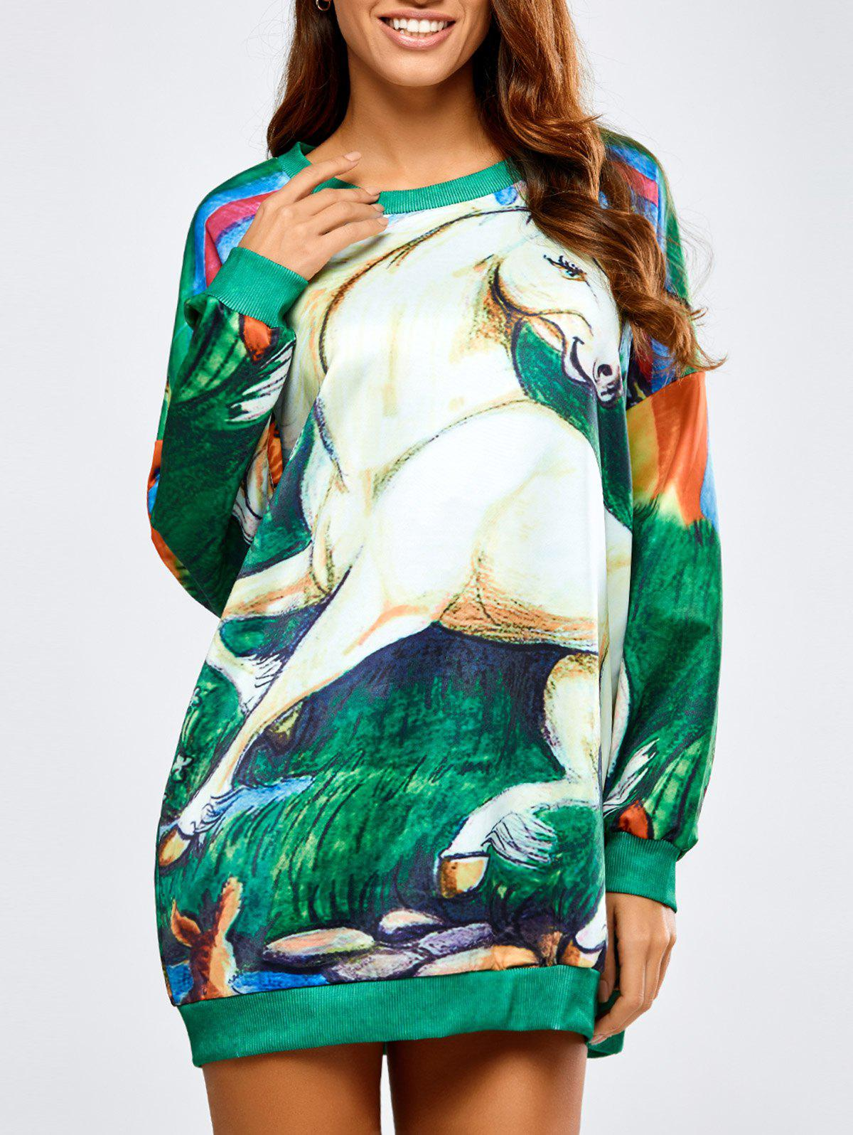Long Horse Print Loose SweatshirtWomen<br><br><br>Size: ONE SIZE<br>Color: GREEN
