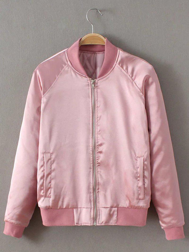 Preppy Stain Bomber Jacket - PINK S