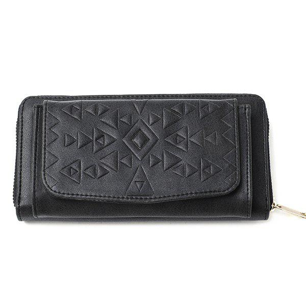 Geometric Embossed Zip Around PU Leather Wallet - BLACK