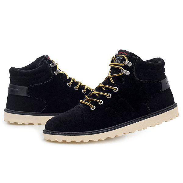 Suede Lace-Up Short Boots - BLACK 44