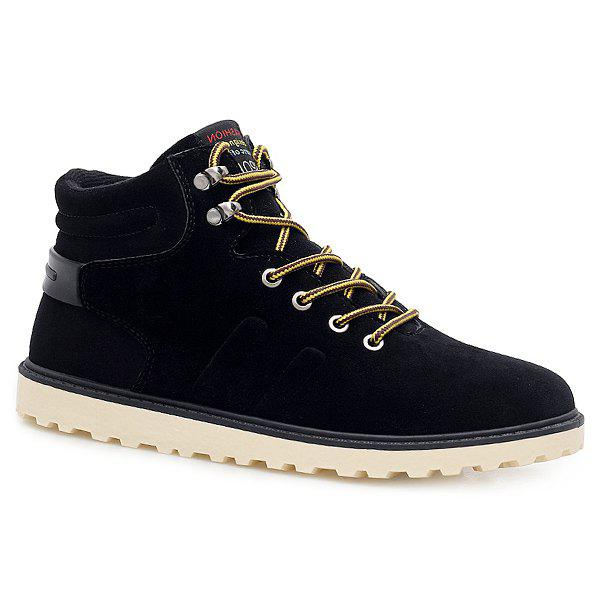 Suede Lace-Up Short Boots - BLACK 41