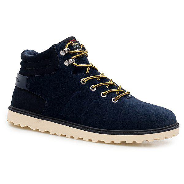 Suede Lace-Up Short Boots - BLUE 40