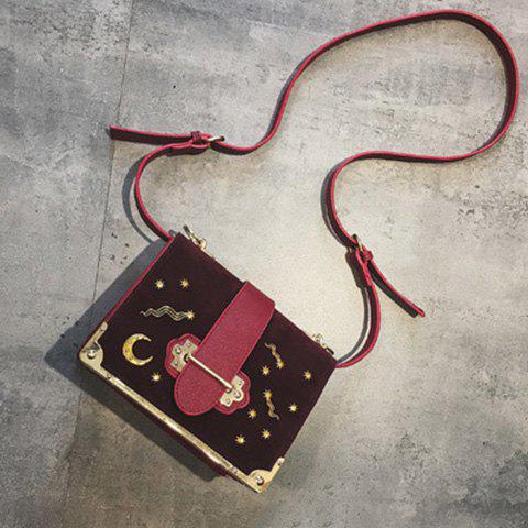Square Shape Splicing Metal Corner Crossbody Bag - WINE RED