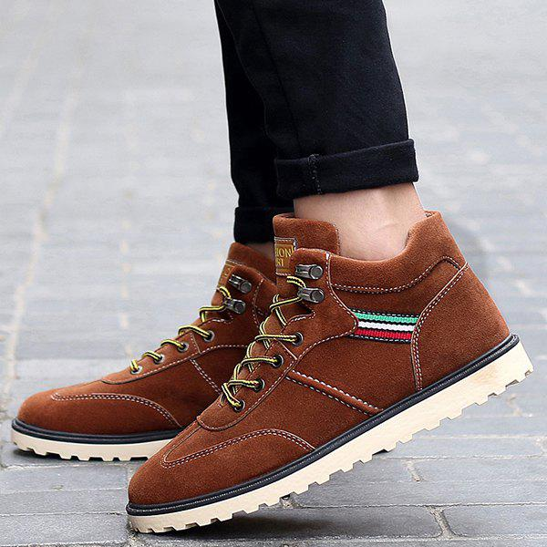 Stitching Lace-Up Suede Short Boots - BROWN 43