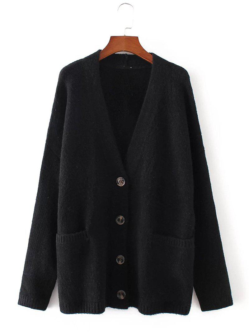 Button Up Sweater Coat with Pockets