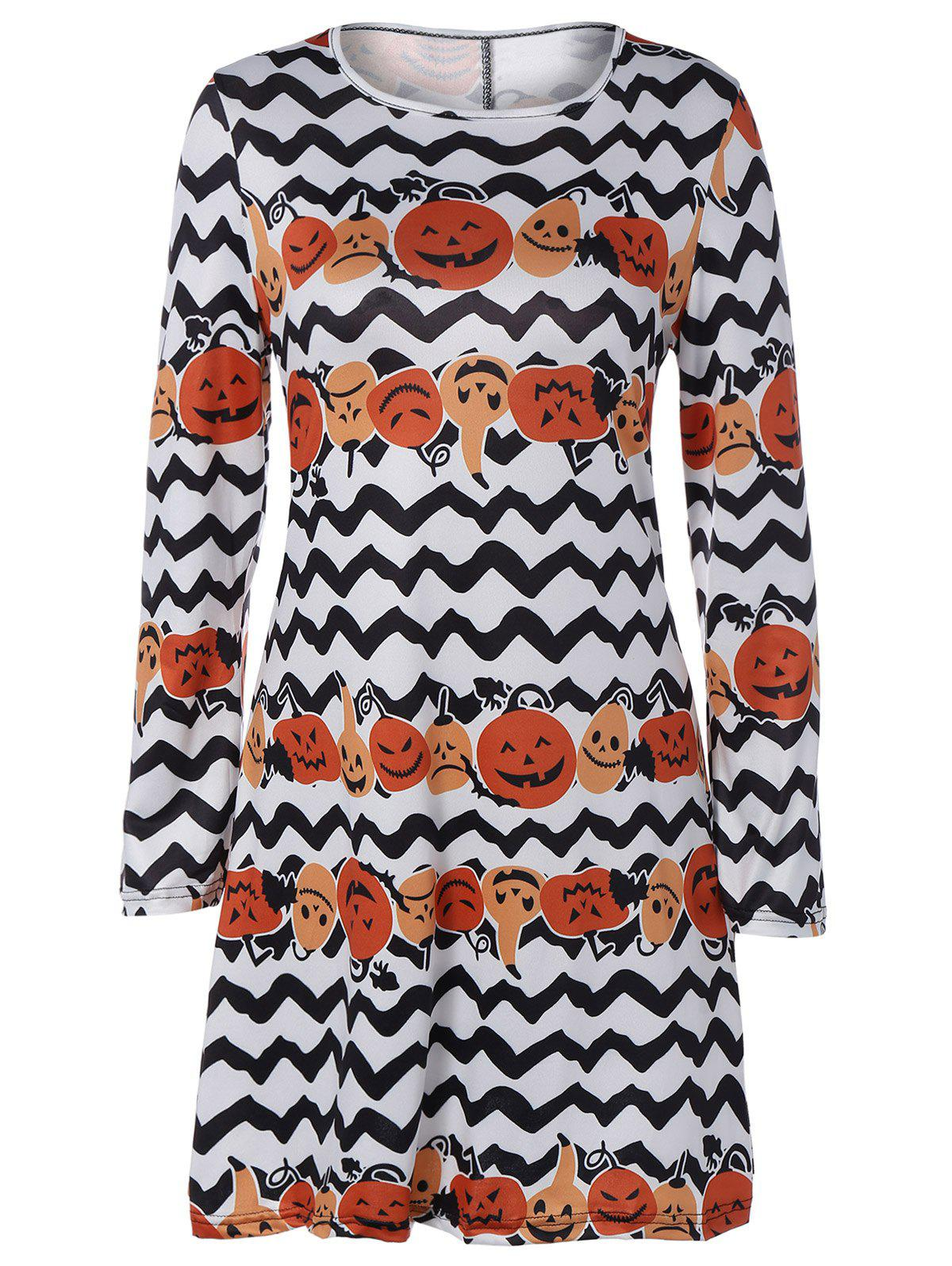 Pumpkin Hallowmas Print Zigzag Mini Swing Dress skew neck pumpkin letter print hallowmas mini dress