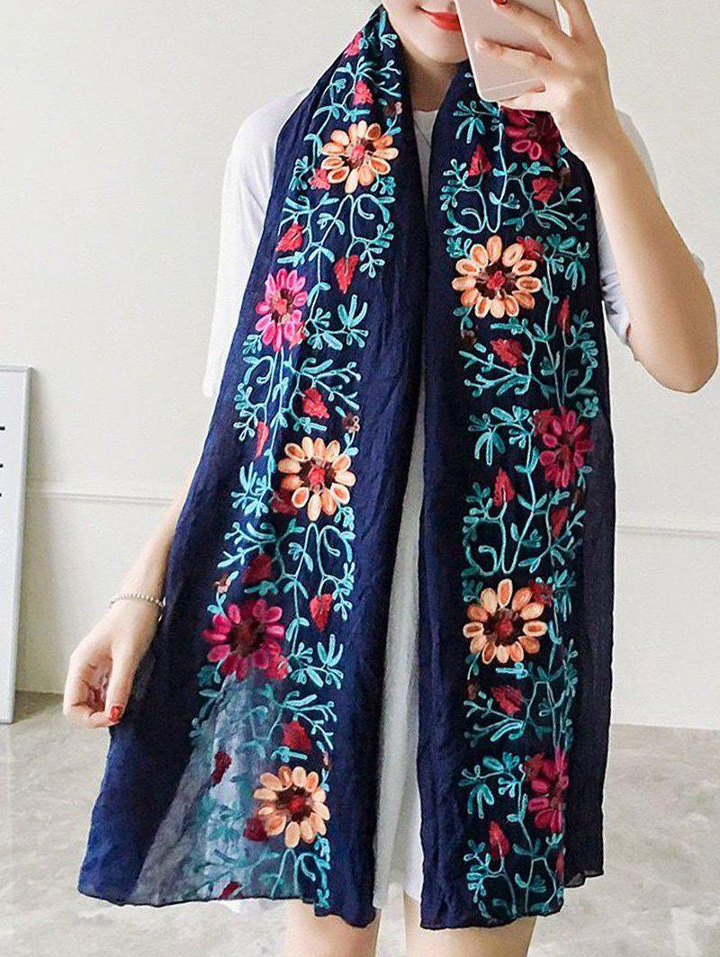 Ethnic Style Flower Embroidered Linen ScarfAccessories<br><br><br>Color: CADETBLUE