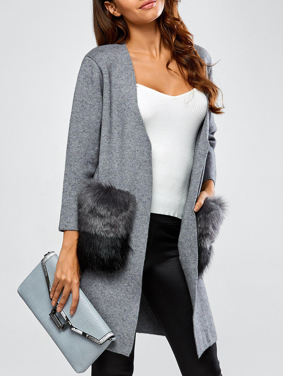 Open Front Pockets Cardigan - GRAY ONE SIZE