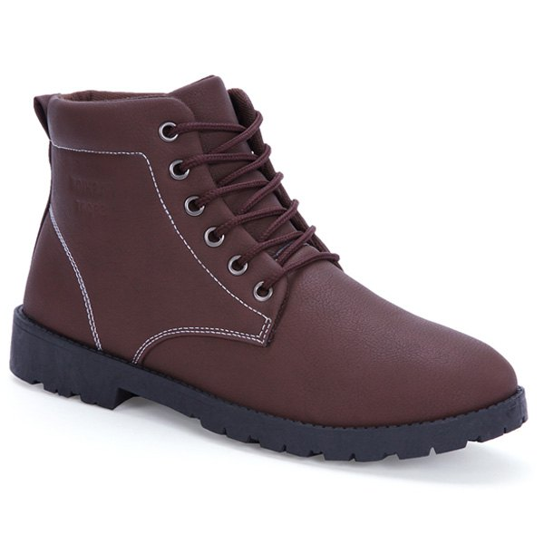 Stitching PU Leather Tie Up Boots - DEEP BROWN 43