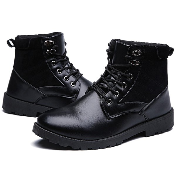 Lace-Up Splicing Dark Colour Boots - BLACK 40
