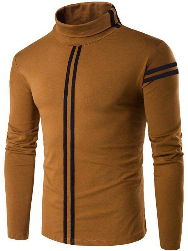 Varsity Stripe Long Sleeve Roll Neck T-Shirt - COFFEE M