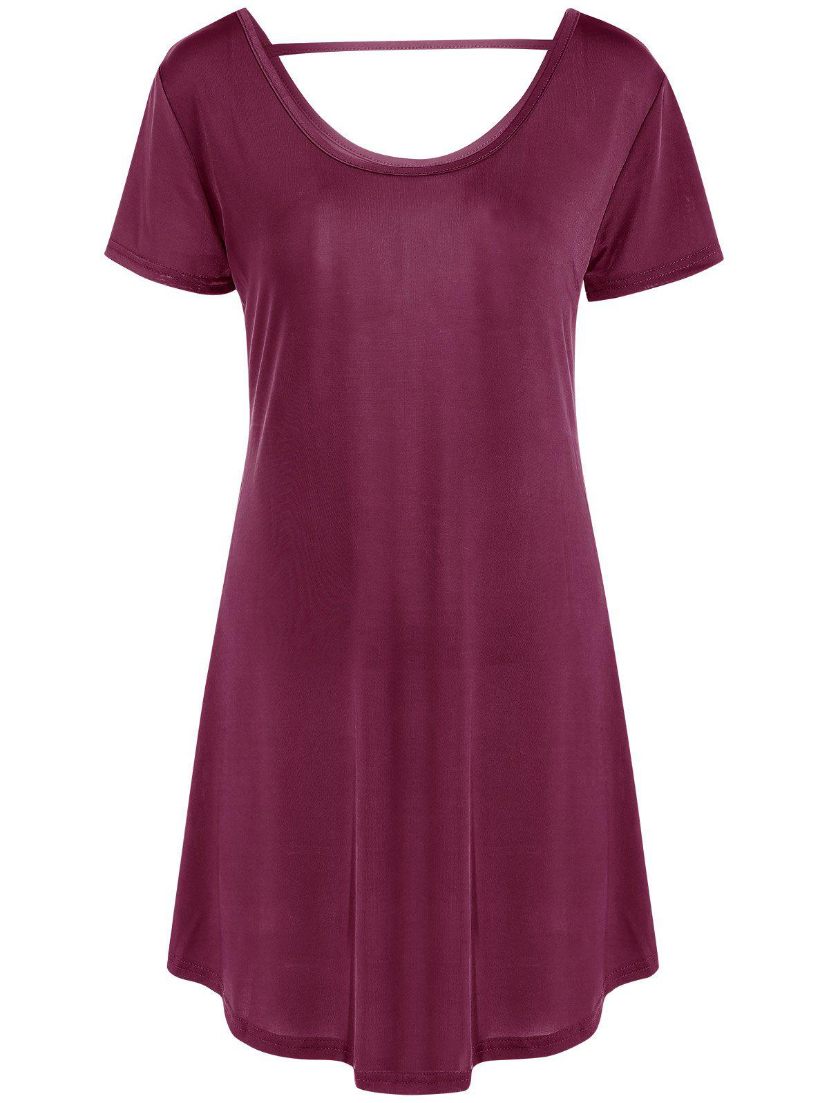 Casual Women's Hollow Out Short Sleeve Scoop Neck Dress - WINE RED 2XL