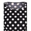 Scoop Neck Polka Dot Patchwork manches T-shirt - Noir M