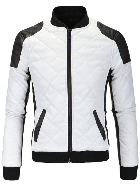 Zip-Up Cotton-Padded Argyle Color Block Splicing PU-Leather Jacket - WHITE 3XL