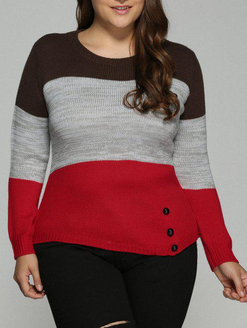 Plus Size Color Block Pullover Knit Sweater - COLORMIX 2XL