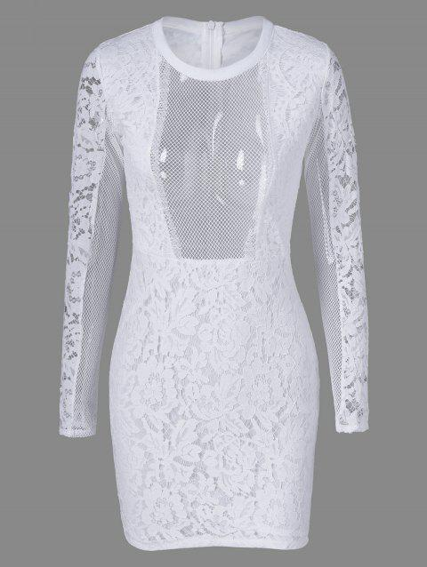 Mesh See Through Robe en dentelle Sheer - Blanc M