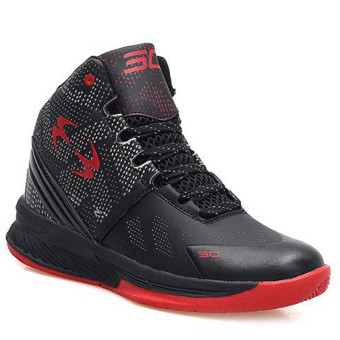 High Top Color Block Basketball Shoes - BLACK 41