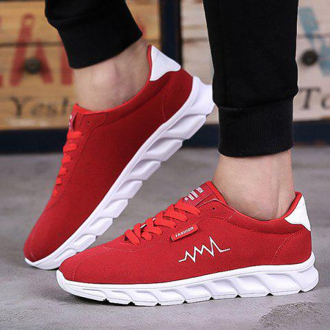 Lace-Up Letters Flock Athletic Shoes - RED 44