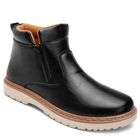 PU Leather Double Zips Short Boots - BLACK 40