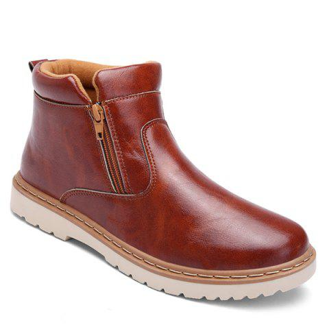 PU Leather Double Zips Short Boots - BROWN 44