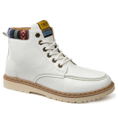 PU Leather Eyelets Lace-Up Work Boots - WHITE 41
