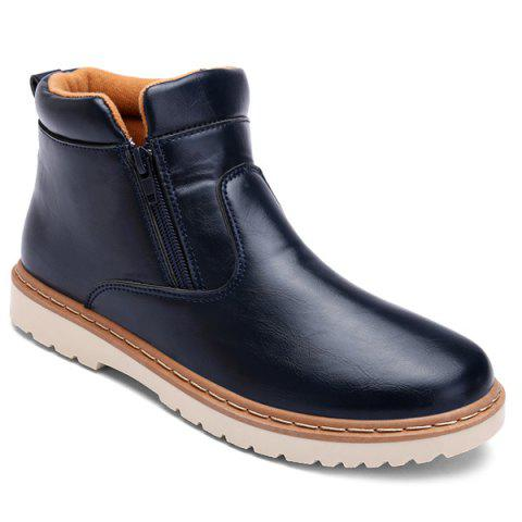 PU Leather Double Zips Short Boots - BLUE 42