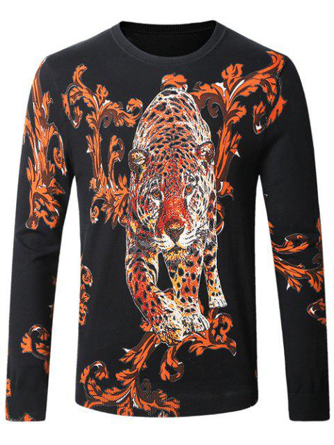 Leopard Ancient Flower Pullover Sweater - BLACK L